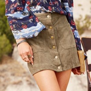 Altar'd State Olive Suave Suede Button Up Skirt